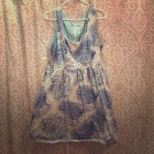 Short blue cotton map dress with pockets / lining
